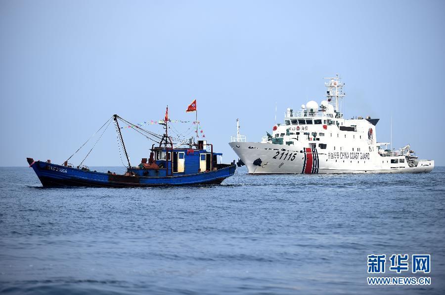 9月12日,辽宁海警总队海警第一支队的海警舰船在大连市长海县海洋岛