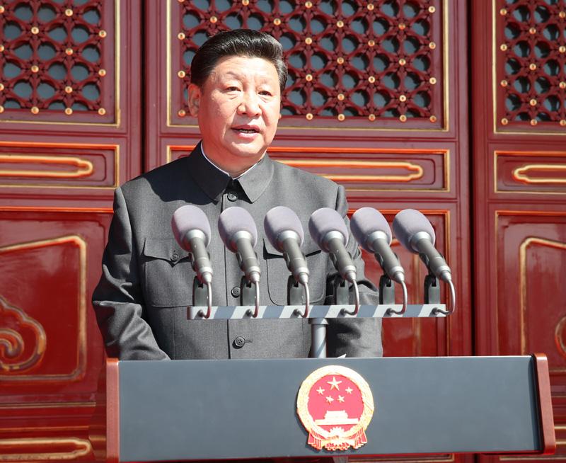 2015年9月3日,纪念中国人民抗日战争暨世界反法西斯战争胜利70周年大会在北京天安门广场隆重举行。这是中共中央总书记、国家主席、中央军委主席习近平在大会上发表重要讲话。