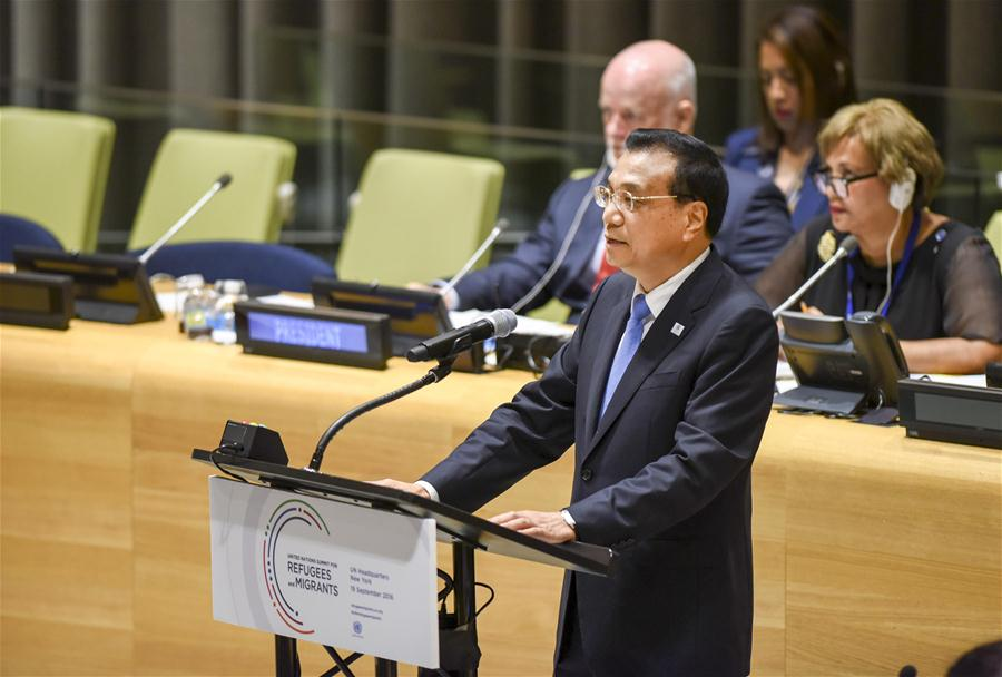 Chinese Premier Li Keqiang addresses the Summit for Refugees and Migrants of the on-going U.N. General Assembly in New York, the United States, Sept. 19, 2016. (Xinhua/Li Tao)