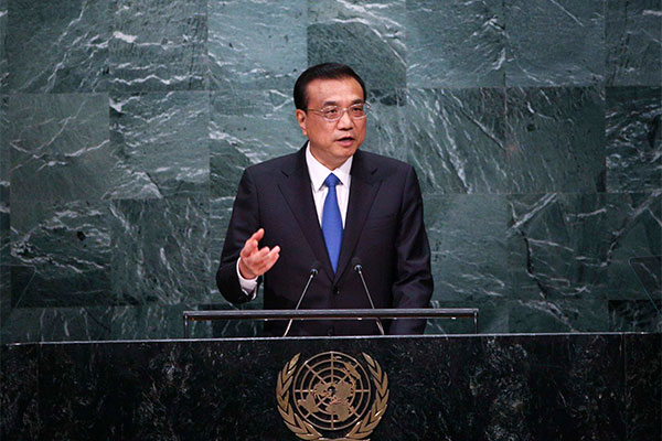 Chinese premier Li Keqiang attends the general debate of the 71st session of the UN General Assembly in New York, Sept 21, 2016. [Photo provided to chinadaily.com.cn]