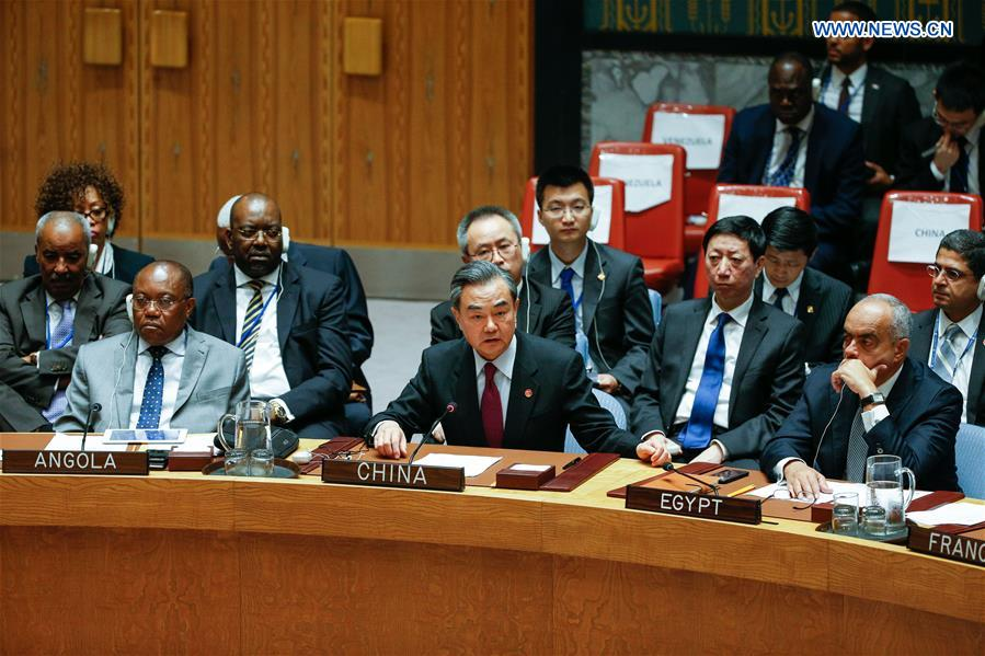Chinese Foreign Minister Wang Yi(C, front) attends a high-level UN Security Council meeting at the UN headquarters in New York, Sept. 21, 2016. China, a permanent member of the UN Security Council, will continue to fulfill its duties and play its due role for peace and stability in the Middle East, said Chinese Foreign Minister Wang Yi on Wednesday. (Xinhua/Li Muzi)