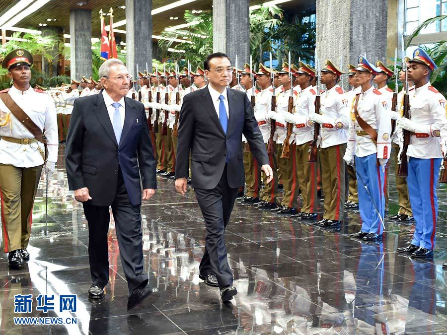 Premier Li Keqiang has met with Cuban President Raul Castro in the country