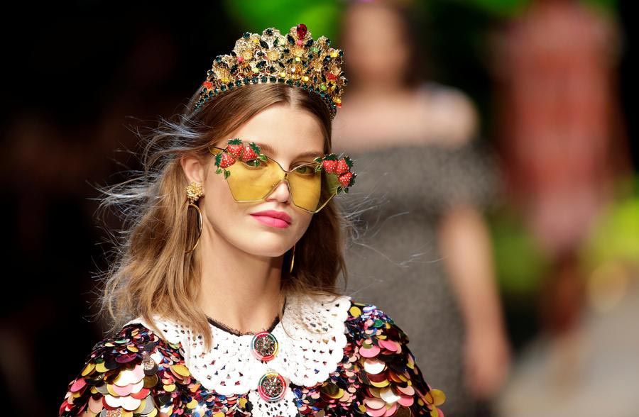 4ccf91a2 A model presents a creation at the D&G fashion show during Milan Fashion  Week Spring/