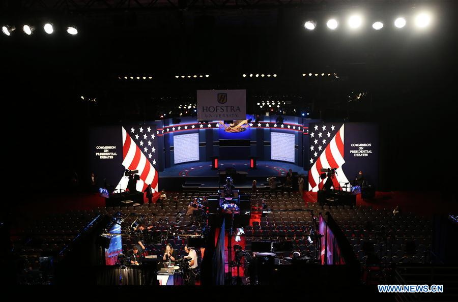 Photo taken on Sept. 26, 2016 shows the debate hall for the first U.S. presidential debate at Hofstra University in New York, the United States. The first of three presidential debates between the Democratic and Republican nominees, Hillary Clinton and Donald Trump, will be held Monday at Hofstra University in New York. (Xinhua/Qin Lang)
