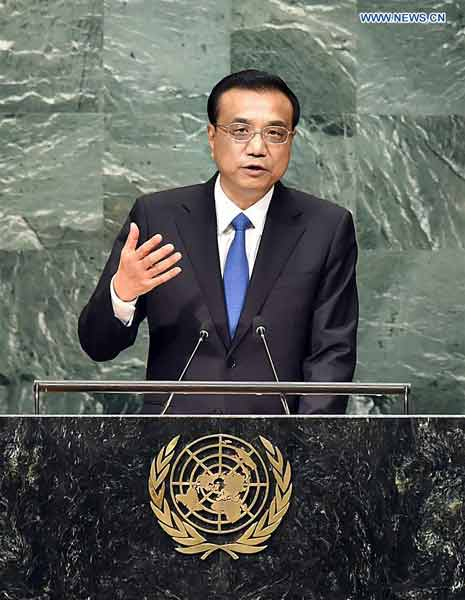 Chinese Premier Li Keqiang speaks during the general debate of the UN General Assembly at the UN headquarters in New York Sept. 21, 2016. Premier Li called for joint efforts to address sustainable development, global challenges. (Xinhua/Li Tao)