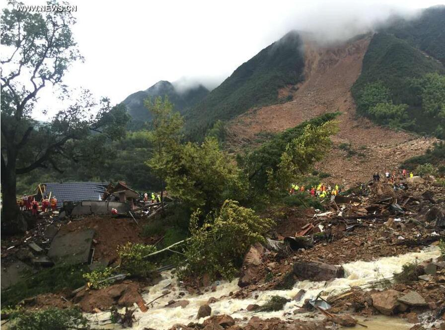 Dozens missing as typhoon triggers landslides in China