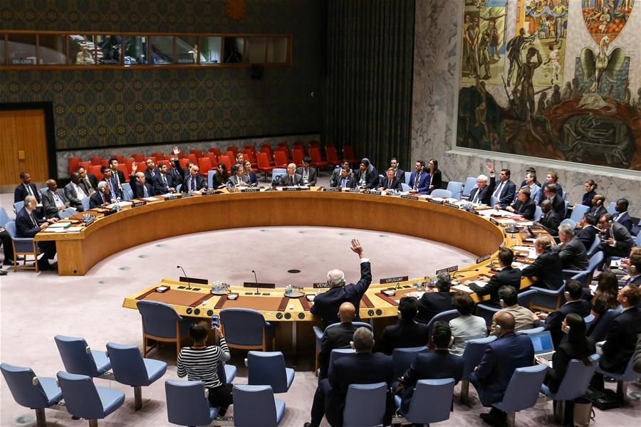 Photo taken on Oct. 8, 2016, shows the United Nations Security Council voting on a Russia-drafted resolution on Syria, at the UN headquarters in New York. The UN Security Council on Saturday failed to adopt a Russian draft resolution on Syria as it didn