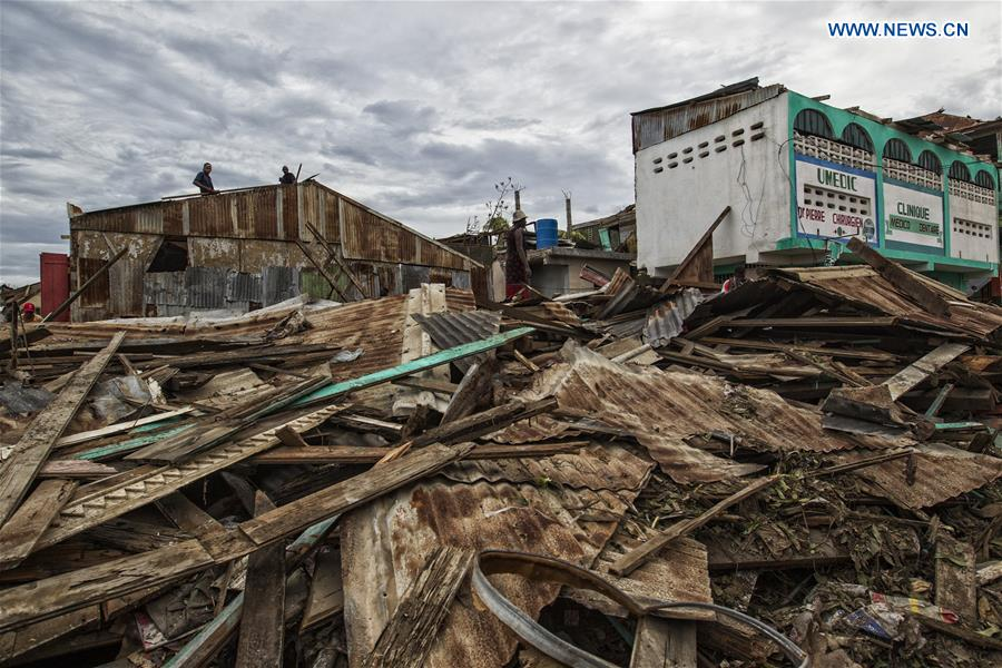 Image provided by the United Nations Stabilization Mission in Haiti shows the debris left by Hurricane Matthew in Jeremie city, Haiti on Oct. 6, 2016. Haiti was hit hardest by Hurricane Matthew in the Caribbean region with more than 271 people reported dead as of Thursday evening. (Xinhua/Logan Abassi/UN/MINUSTAH)