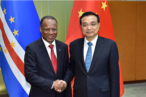 Premier Li Keqiang called for boosting cooperation and strengthening political mutual trust with Cape Verde, while meeting with Prime Minister Ulisses Correia e Silva on Oct 10.