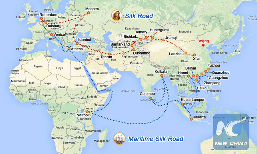 Picture shows the Silk Road Economic Belt and the 21st Century Maritime Silk Road, collectively known as the Belt and Road initiative. (Xinhua)