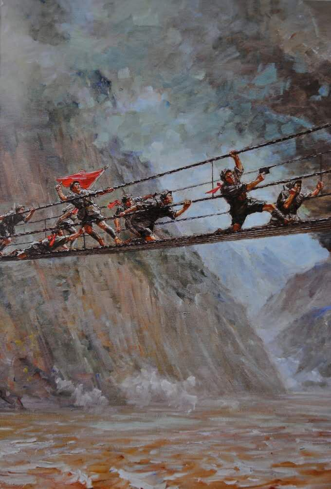 飞夺泸定桥手绘图