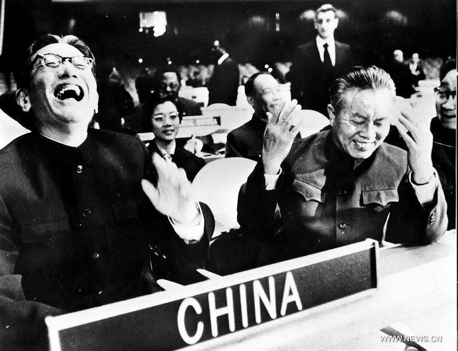 File Photo shows Qiao Guanhua (L, front), then vice foreign minister of the People