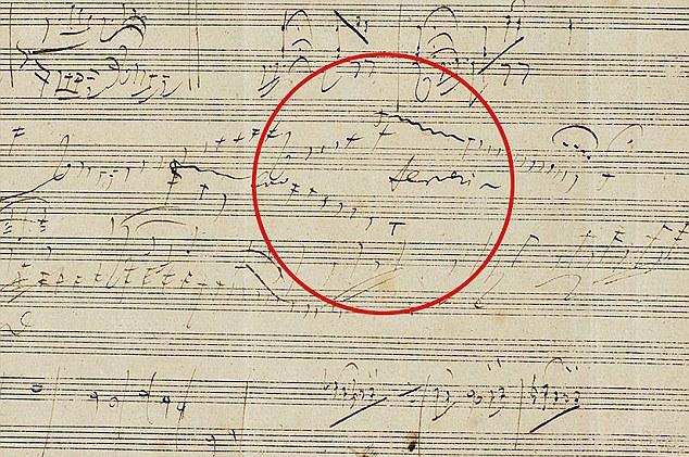 """该手稿为贝多芬第五号钢琴协奏曲""""皇帝""""的早期草稿"""