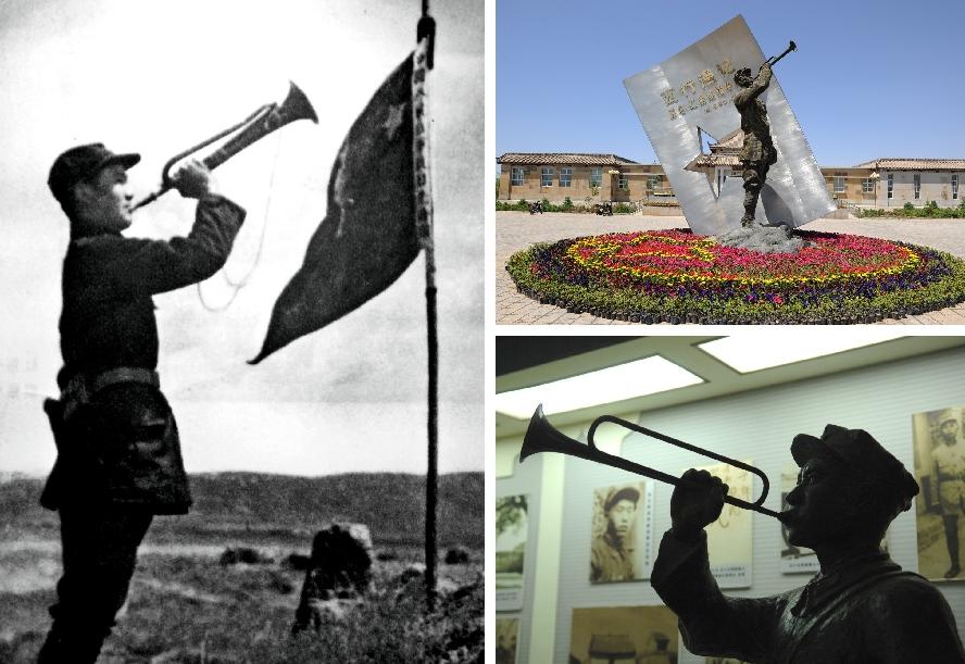 الصورة بعنوان ((صوت حرب المقاومة ضد الغزاة اليابانيين)) التقطها الصحفي الأمريكي سنوه في أغسطس عام 1936 في يويوانغبو والتمثال المماثل أمام وداخل المتحف التذكاري لفرع الزحف الغربي للجيش الأحمر في محافظة تونغشين.