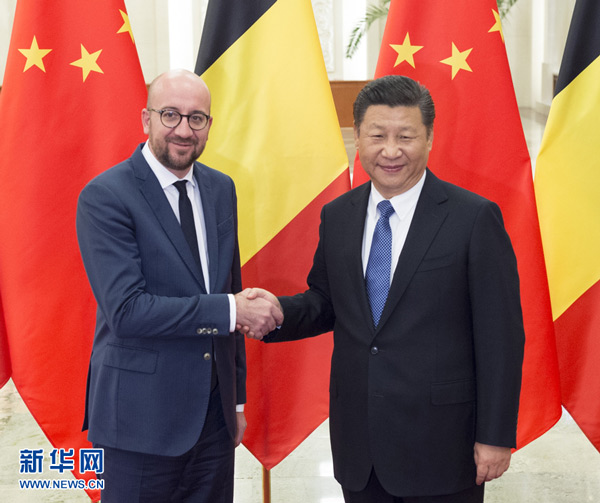 In his meeting with visiting Belgian Prime Minister Charles Michel, Chinese President Xi Jinping called on both sides to properly handle issues regarding respective core interests and major concerns, and expand cooperation in such key areas as manufacturing, new energy, environmental protection and services.