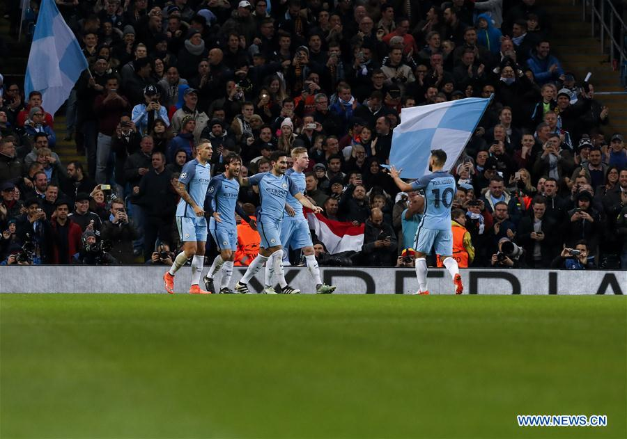 Players of Manchester City celebrate after scoring during the UEFA Champions League Group C match between Manchester City and Barcelona at Etihad Stadium in Manchester, Britain, on Nov. 1, 2016. Manchester City won 3-1. (Xinhua/Han Yan)