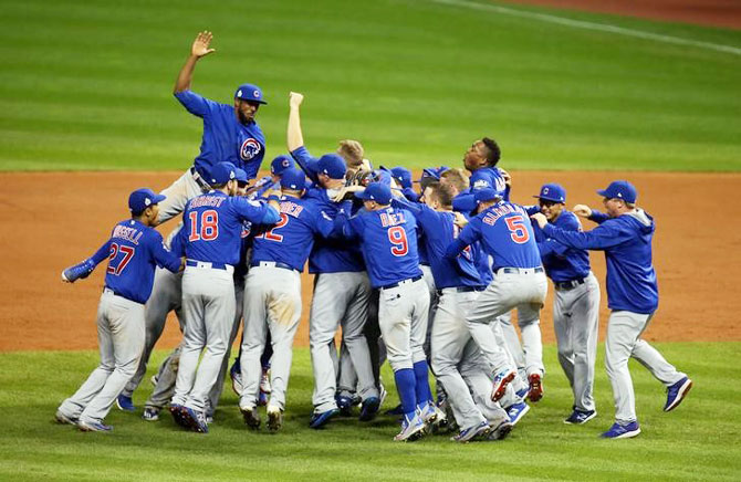 IMAGE: Chicago Cubs players celebrate after defeating the Cleveland Indians in game seven of the 2016 World Series at Progressive Field in Cleveland, Ohio on Wednesday. Photograph: Charles LeClaire-USA TODAY Sports via Reuters