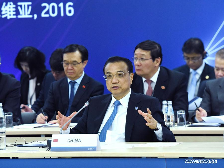 Chinese Premier Li Keqiang (front) attends the Fifth Meeting of Heads of Government of Central and Eastern European Countries (CEEC) and China in Riga, Latvia, Nov. 5, 2016. (Xinhua/Rao Aimin)