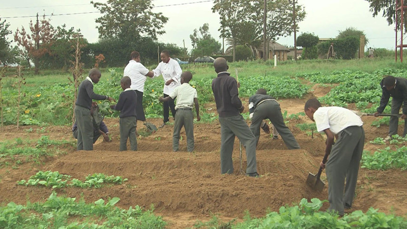Students planting crops. This is made possible through Ska and her friends