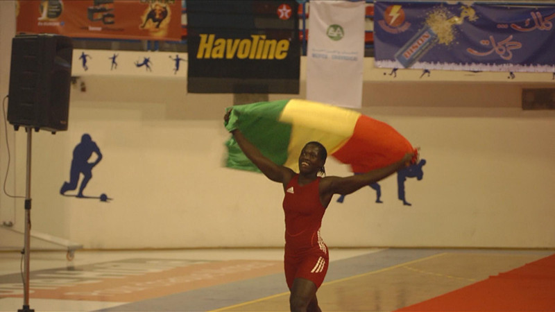 Isabel Sambou showing off her country