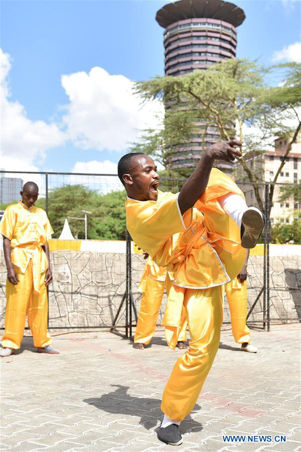 A member from a local martial arts club demonstrates Chinese Kungfu during the Kungfu Festival in Nairobi, Kenya, Nov. 5, 2016. (Xinhua/Sun Ruibo)