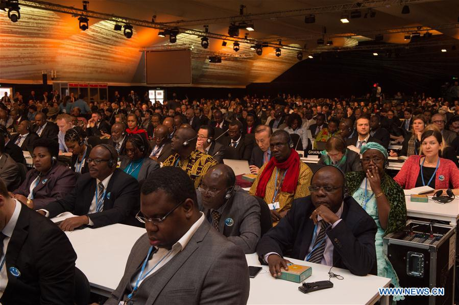 Delegates attend the opening ceremony of COP22 in Marrakech, Morocco, Nov. 7, 2016. The 22nd Conference of Parties (COP22) to the United Nations Framework Convention on Climate Change (UNFCCC) kicked off here on Monday. (Xinhua/Meng Tao)