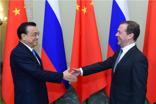 Premier Li Keqiang and Russian Prime Minister Dmitry Medvedev co-chair the 21st China-Russia Prime Ministers' Regular Meeting in St. Petersburg, Russia on Nov 7. [Photo: english.gov.cn]