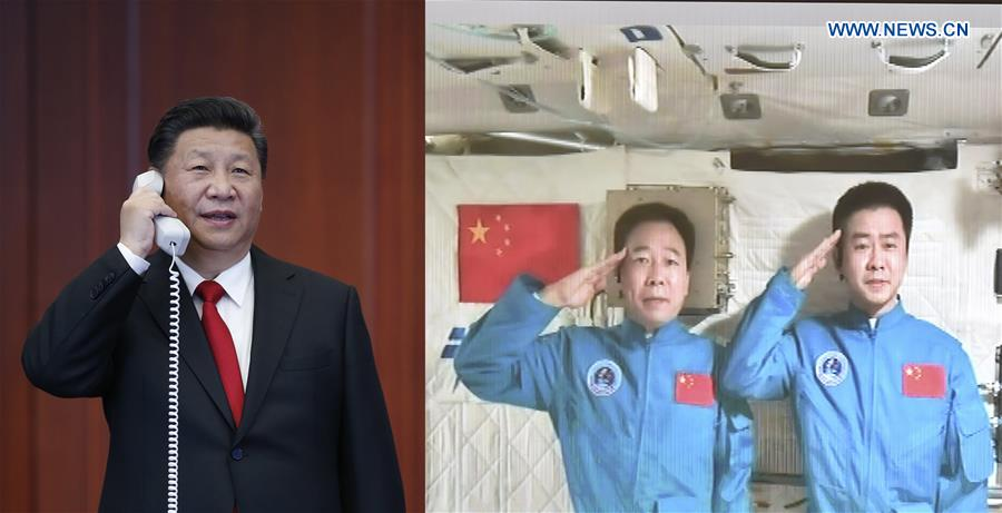 Combination photo taken on Nov. 9, 2016 shows Chinese President Xi Jinping (L) talks with the two astronauts, Jing Haipeng and Chen Dong, in the space lab Tiangong-2, at the command center of China