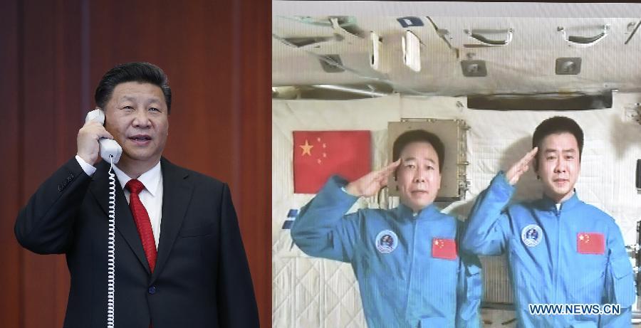Xi Jinping contacte les astronautes dans un laboratoire d