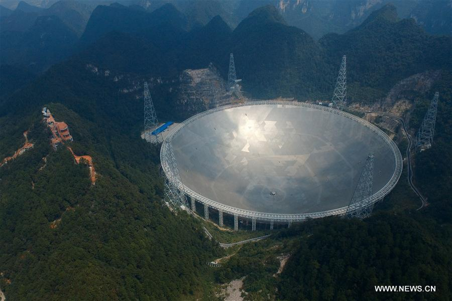 Photo taken on Sept. 24, 2016 shows the 500-meter Aperture Spherical Telescope (FAST) in Pingtang County, southwest China