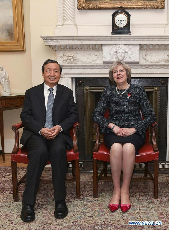 "British Prime Minister Theresa May (R) meets with Chinese Vice Premier Ma Kai in London Nov. 9, 2016. Britain remains ""open for business"" and committed to maintaining the ""Golden Era"" relations with China, Theresa May said on Wednesday. (Xinhua/Han Yan)"