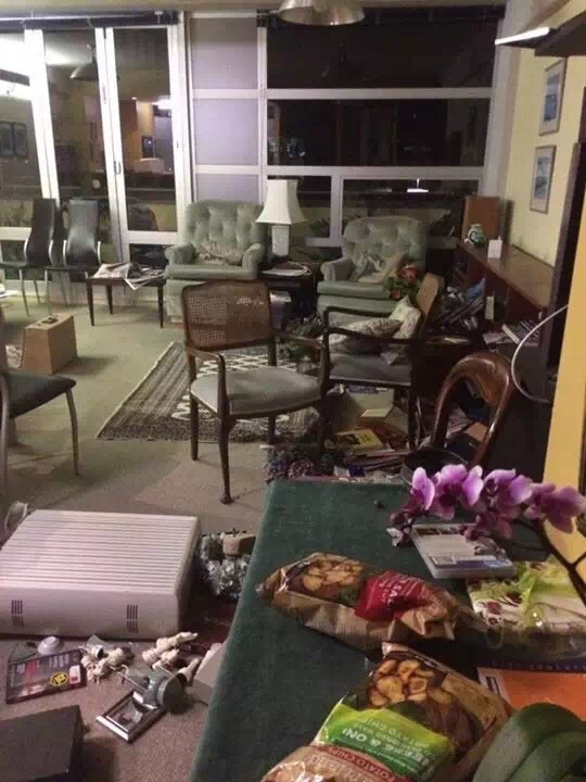 Photo taken on Nov. 14, 2016 (local time) shows a living room of a house in Wellington, New Zealand. A major earthquake rocked South Island of New Zealand in the wee hours of Monday, followed by a series of strong aftershocks and a tsunami warning. (Xinhua)