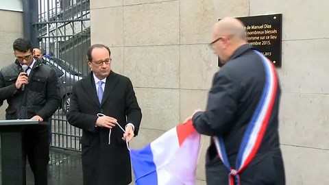 French President Francois Hollande unveils plaques at the sites of the Paris attacks at the city marks the first anniversary. Rough cut