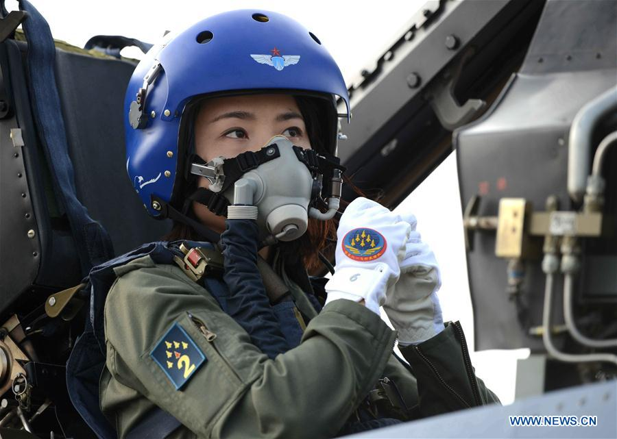 This file photo shows Chinese female J-10 fighter pilot Yu Xu. Yu died in an accident during a routine flight training on Saturday, an Air Force spokesman said. (Xinhua/Shen Ling)