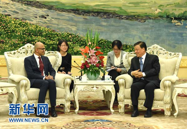 Liu Yunshan, member of the Standing Committee of the Political Bureau of the CPC Central Committee, has met chief executive officer of Microsoft, Satya Nadella, in Beijing on Monday.