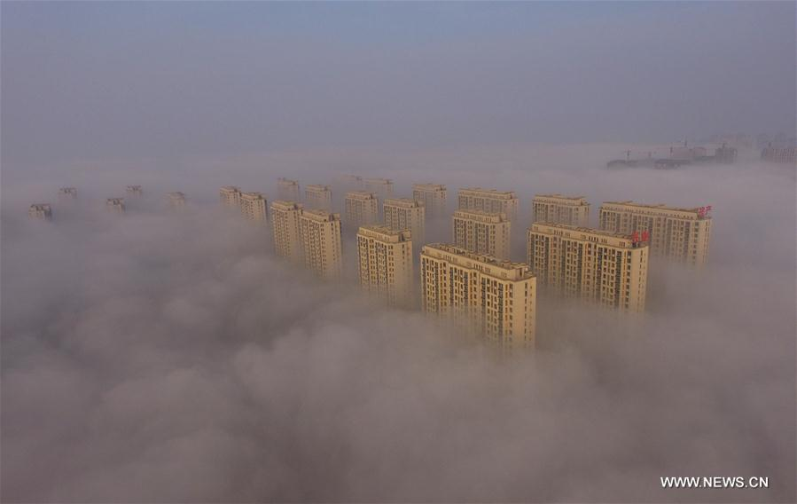 Photo taken on Nov. 14, 2016 shows buildings shrouded in fog in Rizhao, east China