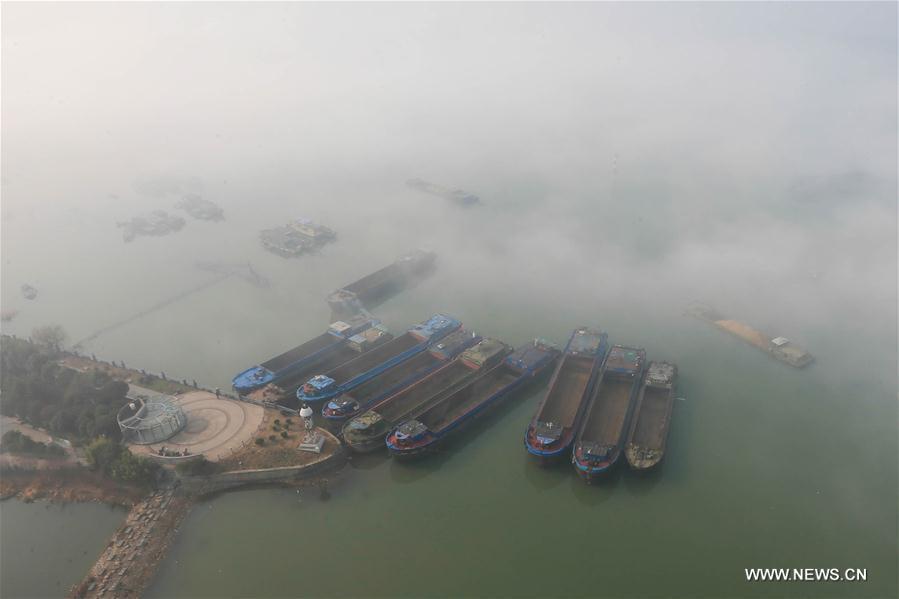 Photo taken on Nov. 14, 2016 shows ships shrouded in fog in Huai