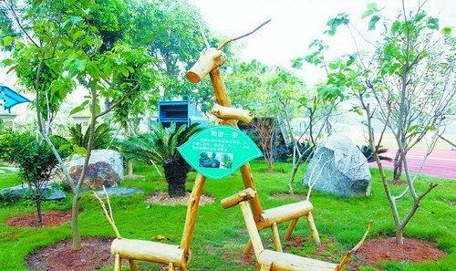 在新阳幼儿园,孩子们与家长一齐动手,制作出小木屋,蜘蛛网,树枝起义之