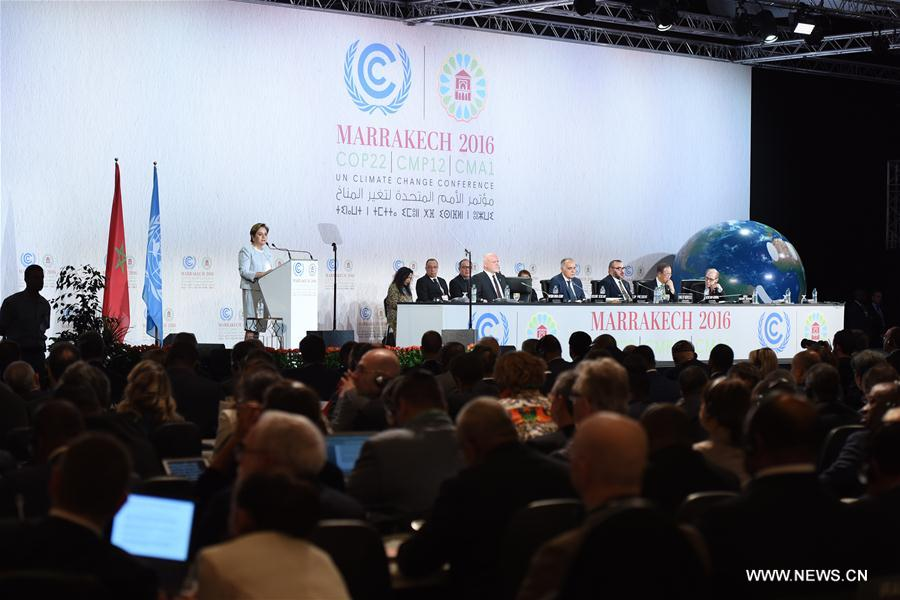 Patricia Espinosa, executive secretary of UNFCCC, speaks at the opening of the joint High-Level Segment of the 22nd Conference of the Parties to the United Nations Framework Convention on Climate Change (COP22) and the 12th Conference of the Parties to the Kyoto Protocol (CMP12) in Marrakech, Morocco, on Nov. 15, 2016. The joint High-Level Segment of COP22 and CMP12 opens here Tuesday. (Xinhua/Zhao Dingzhe)