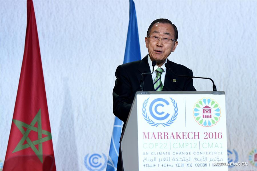 United Nations Secretary-General Ban Ki-moon addresses the opening of the joint High-Level Segment of the 22nd Conference of the Parties to the United Nations Framework Convention on Climate Change (COP22) and the 12th Conference of the Parties to the Kyoto Protocol (CMP12) in Marrakech, Morocco, on Nov. 15, 2016. The joint High-Level Segment of COP22 and CMP12 opened here Tuesday.(Xinhua/Zhao Dingzhe)