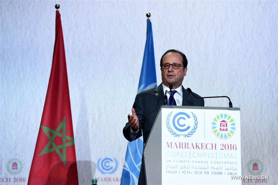 French President Francois Hollande speaks at the opening of the joint High-Level Segment of the 22nd Conference of the Parties to the United Nations Framework Convention on Climate Change (COP22) and the 12th Conference of the Parties to the Kyoto Protocol (CMP12) in Marrakech, Morocco, on Nov. 15, 2016. The joint High-Level Segment of COP22 and CMP12 opened here Tuesday. (Xinhua/Zhao Dingzhe)