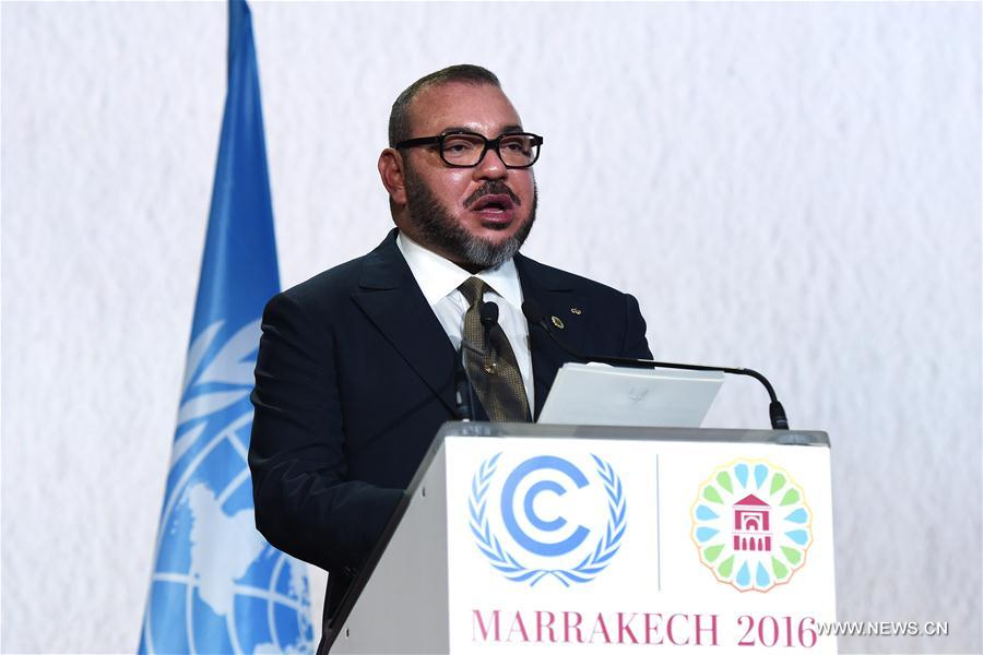King Mohammed VI of Morocco addresses the opening of the joint High-Level Segment of the 22nd Conference of the Parties to the United Nations Framework Convention on Climate Change (COP22) and the 12th Conference of the Parties to the Kyoto Protocol (CMP12) in Marrakech, Morocco, on Nov. 15, 2016. The joint High-Level Segment of COP22 and CMP12 opened here Tuesday. (Xinhua/Zhao Dingzhe)