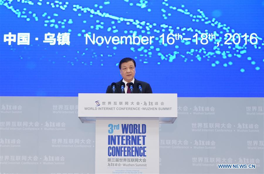 Liu Yunshan, a member of the Standing Committee of the Political Bureau of the Communist Party of China (CPC) Central Committee, delivers a speech at the opening ceremony of the third World Internet Conference (WIC) in Wuzhen, east China