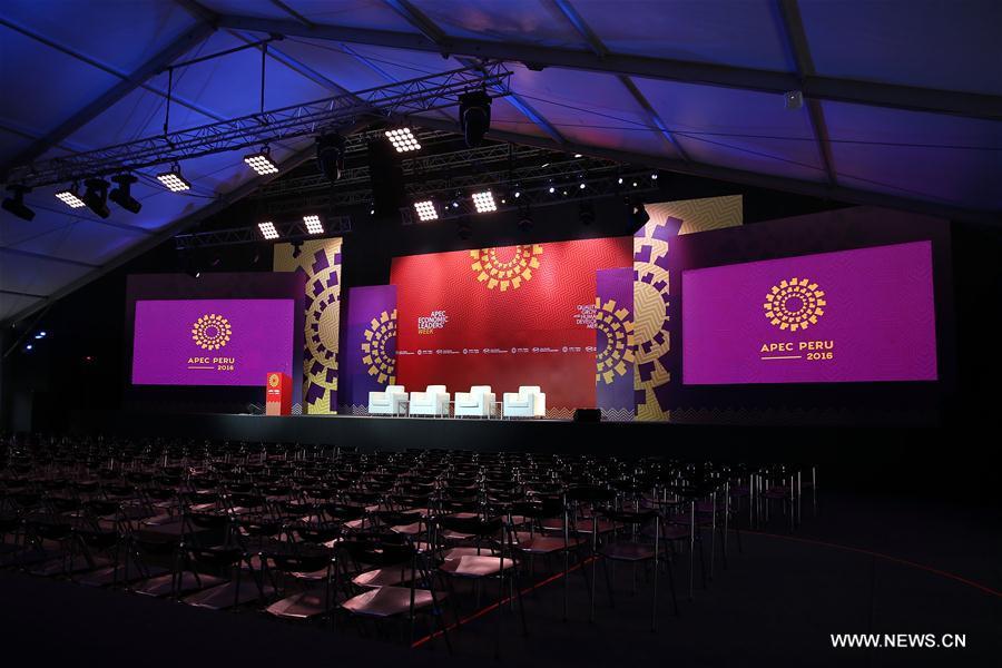 Photo taken on Nov. 15, 2016 shows the interiors of the main press room inside the International Media Center (IMC) of the 2016 APEC Economic Leaders