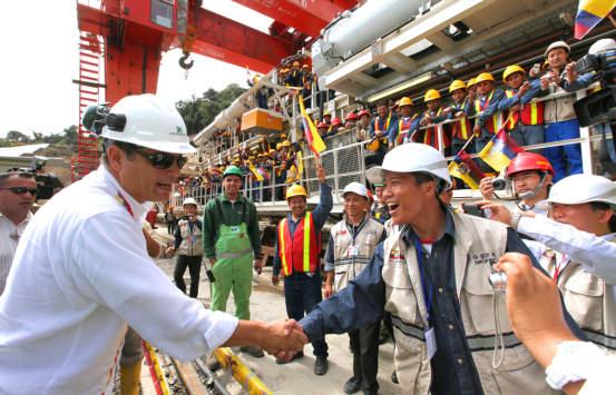 科雷亚总统参加辛克雷电站TBM启动仪式(中国电建提供)