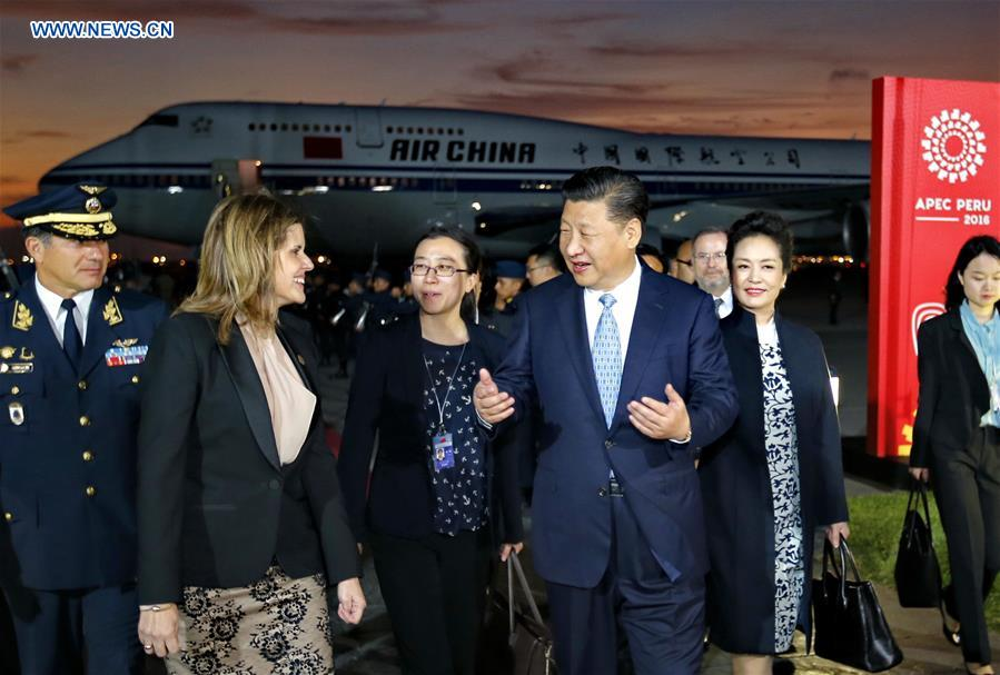 Chinese President Xi Jinping (2nd R, front) and his wife Peng Liyuan (1st R, front) are received by Peruvian Second Vice President Mercedes Araoz (2nd L) at the airport in Lima, Peru, Nov. 18, 2016. Xi arrived in Peru Friday to attend the upcoming Asia-Pacific Economic Cooperation (APEC) Economic Leaders