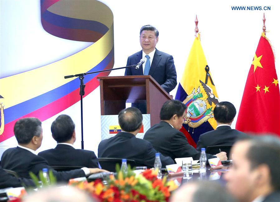 Chinese President Xi Jinping speaks when visiting the headquarters of Ecuador
