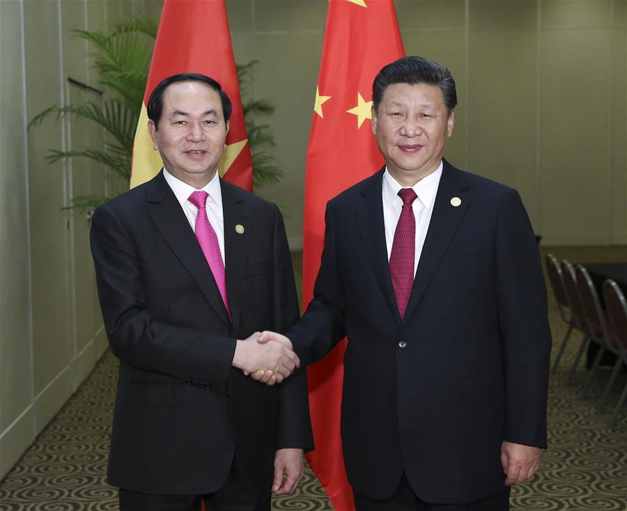 Chinese President Xi Jinping (R) meets with Vietnamese President Tran Dai Quang in Lima, Peru, Nov. 19, 2016. (Xinhua/Pang Xinglei)