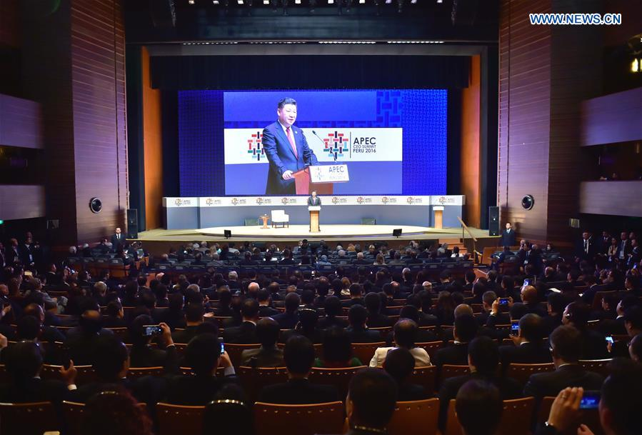 Chinese President Xi Jinping delivers a keynote speech at the Asia-Pacific Economic Cooperation (APEC) CEO Summit in Lima, Peru, Nov. 19, 2016. (Xinhua/Li Tao)