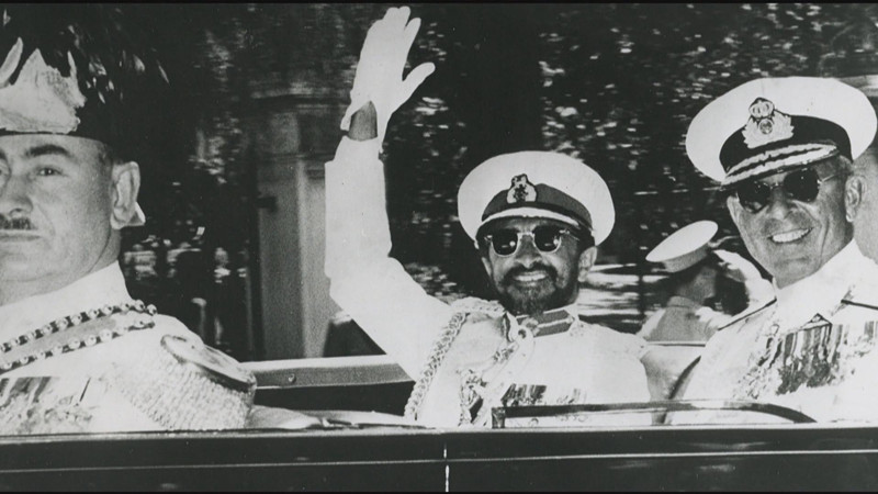 Emperor Haile Selassie (waving) after he launched the Ethiopian airlines.